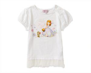トドラーガールズプチパレDisneyソフィア&クローバー裾チュール半袖Tシャツ オフ白