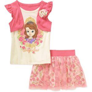 ちいさなプリンセス ソフィア お出かけ着 子供服 Tシャツ 服 子供用 セット スカート 上下 セットアップ ボトムス
